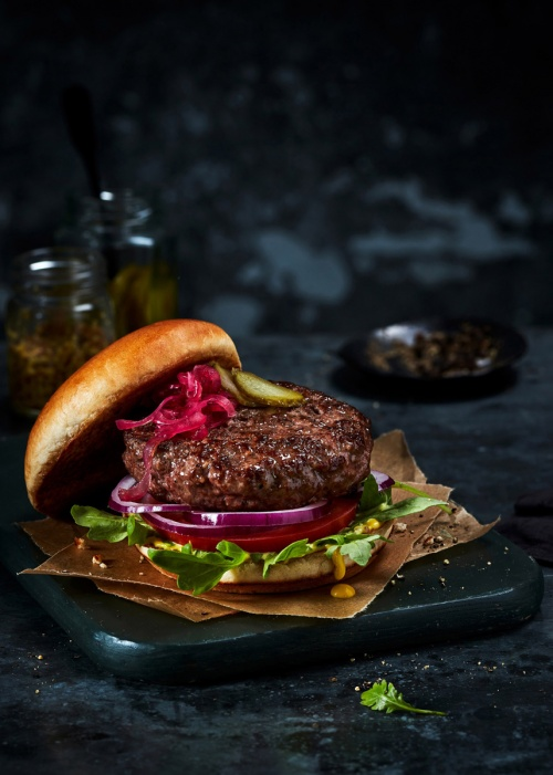 Marks and Spencer Wagyu Beef Burger by Jamie orlando Smith with Brioche Bun Red Onion Gerkins and Mustard 01