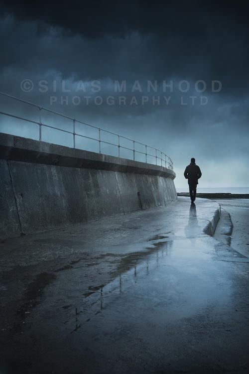 Overcast sea wall