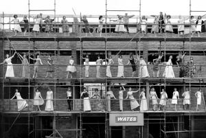 Cornel Lucas Models on Scaffold 1977